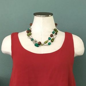 Jewelry - Silver Glass Wood Bead Tiered Necklace
